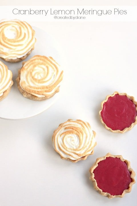 Mini Cranberry Lemon Meringue Pies baked in Mason Jar Lids @createdbydiane