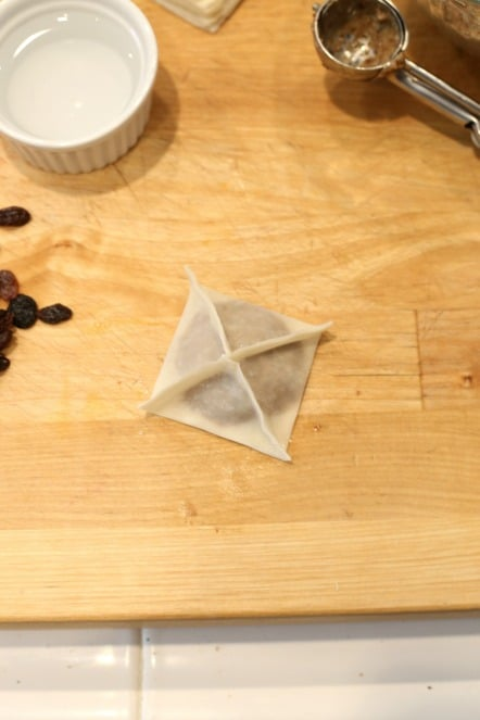 square wrapped wontons