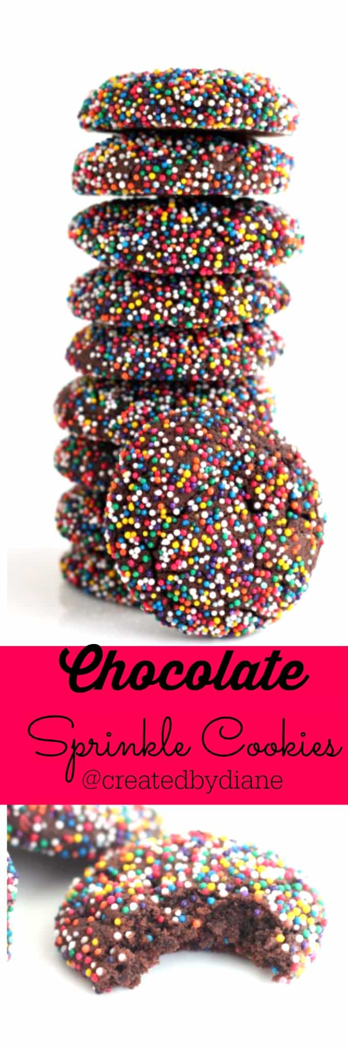 Chocolate Sprinkle Cookies @createdbydiane