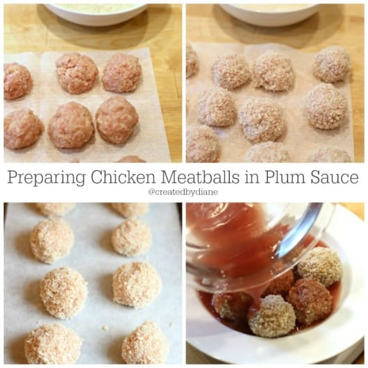 preparing chicken meatballs in plum sauce
