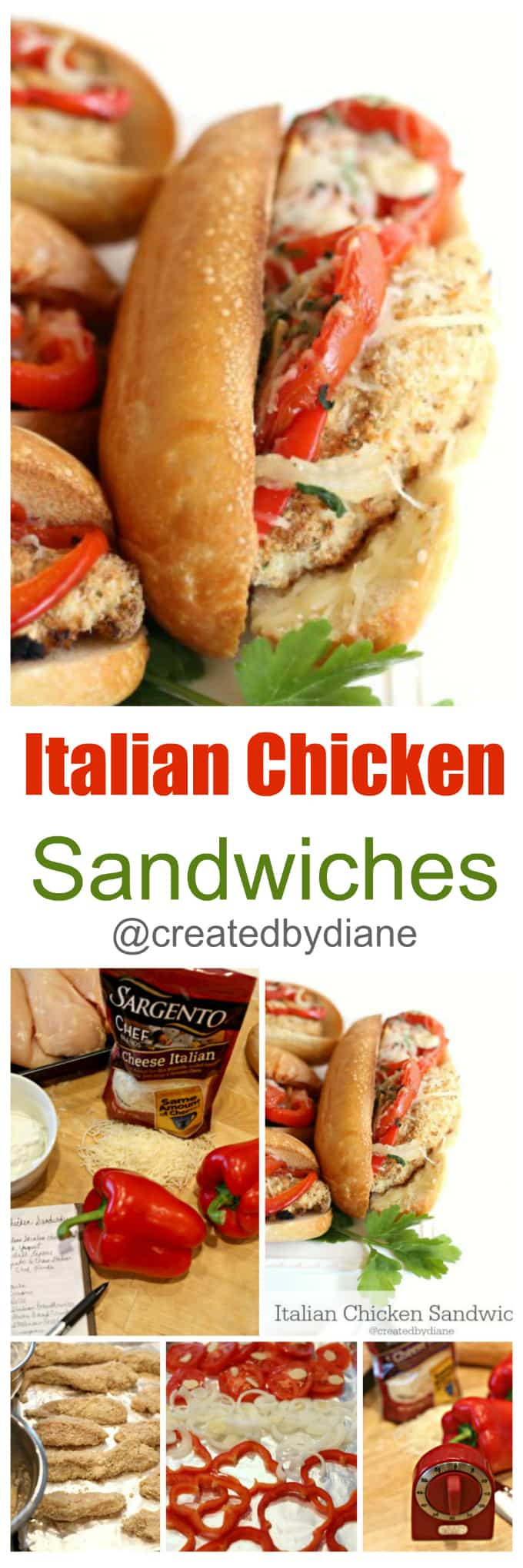 Italian Chicken Sandwiches baked on a sheet pan, easy dinner @createdbydiane