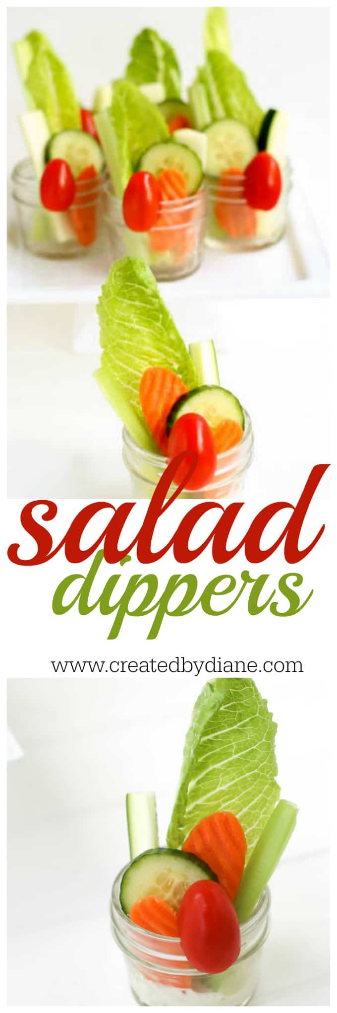 salad dippers , individual salad in a cup great for parties! www.createdbydiane.com