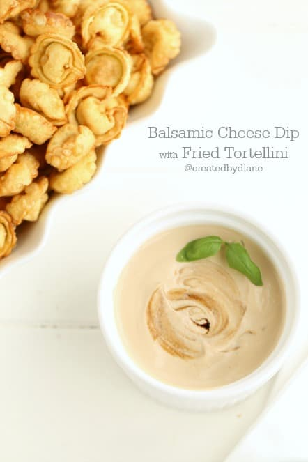 Balsamic Cheese Dip with Fried Tortellini @createdbydiane