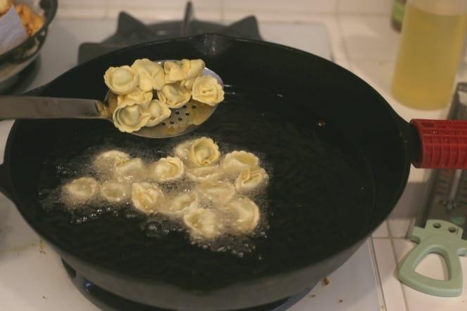 frying tortellini @createdbydiane