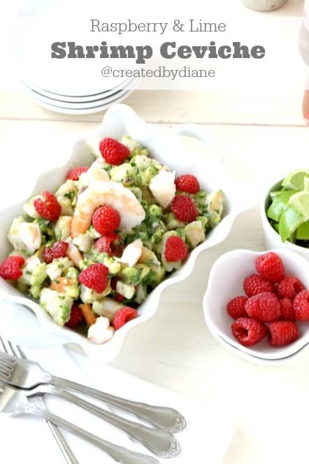 raspberry and lime shrimp ceviche recipe from @createdbydiane