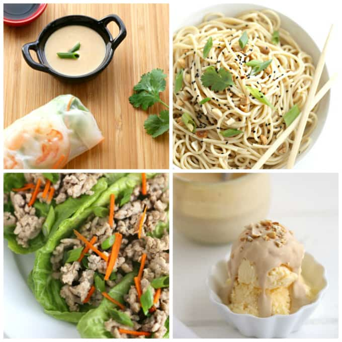 thai peanut sauce is delicious all 4 ways, for dipping appetizers into, over pasta, in lettuce wraps with ground chicken and over ice cream @createdbydiane