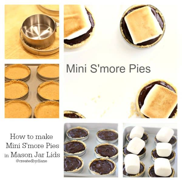 how to easily make mini s'more pies in mason jar lids @createdbydiane