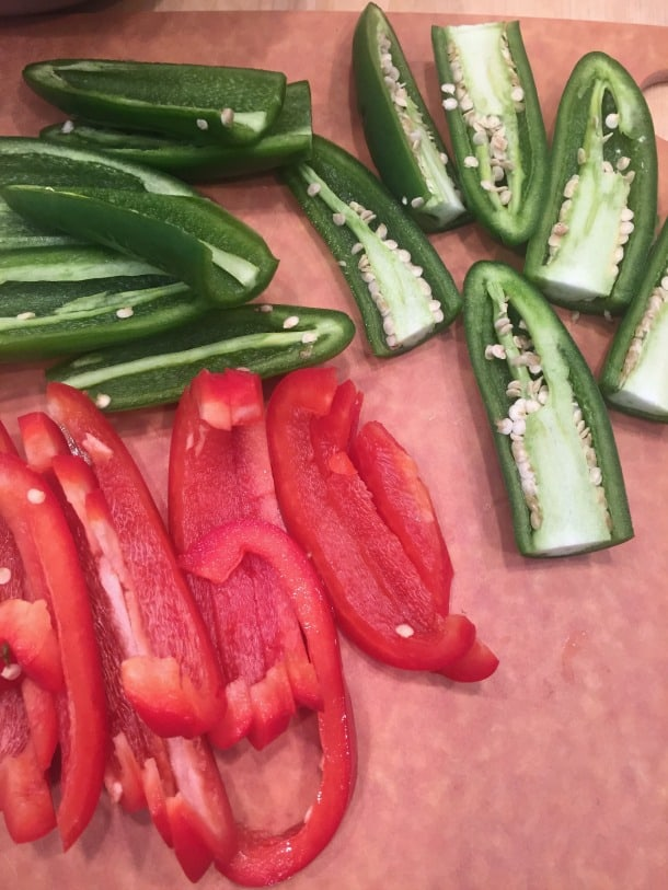 jalapeños and red bell peppers @createdbydiane