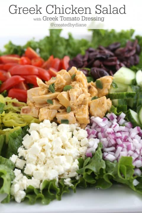 Greek Chicken Salad Recipe from @createdbydiane with Homemade Greek Dressing