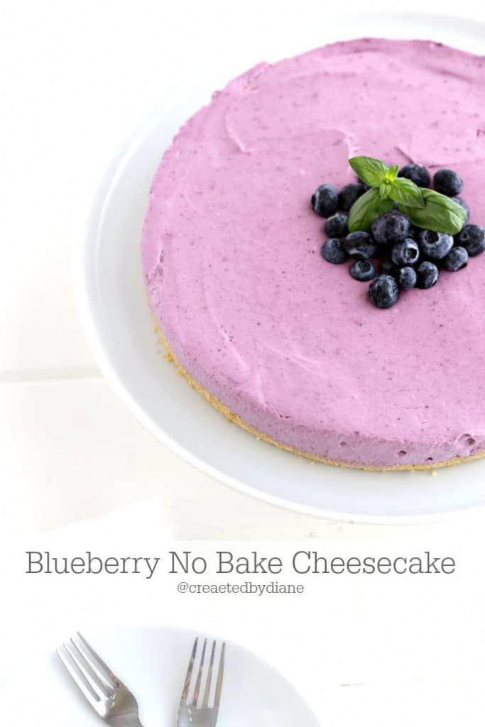 Blueberry No Bake Cheesecake from @createdbydiane