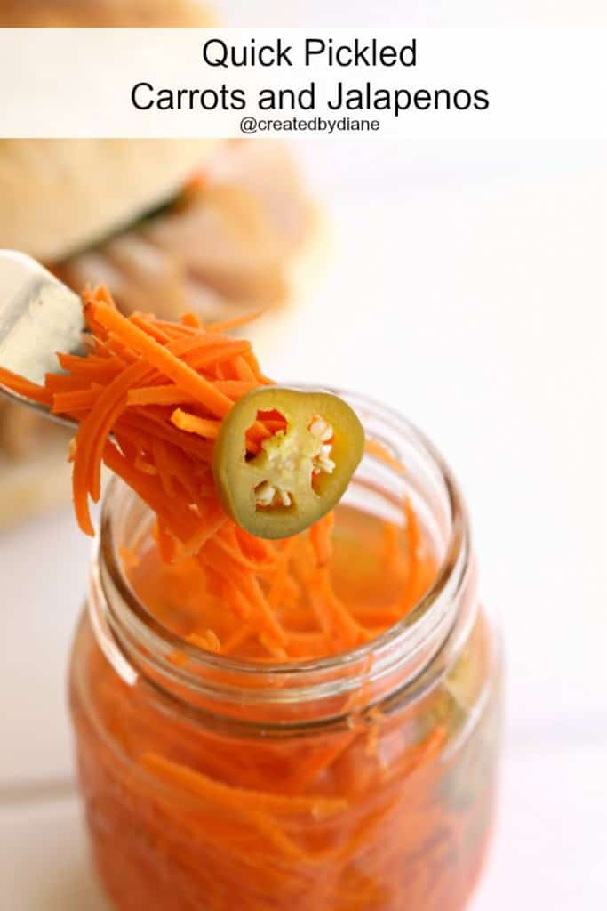 Quick Pickled Carrots and Jalapeños @createdbydiane perfect for a Banh mi Sandwich!