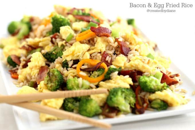Bacon and Egg Fried Rice Recipe from @createdbydiane perfect for breakfast lunch or dinner!