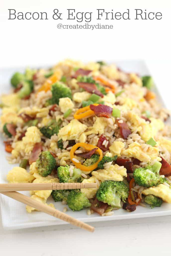 Delicious Bacon and Egg Fried Rice, perfect for breakfast or dinner from @createdbydiane