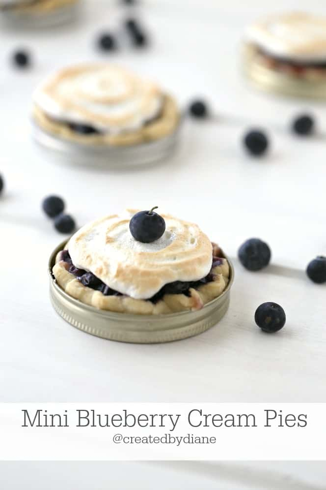 Mini Blueberry Cream Pies @createdbydiane