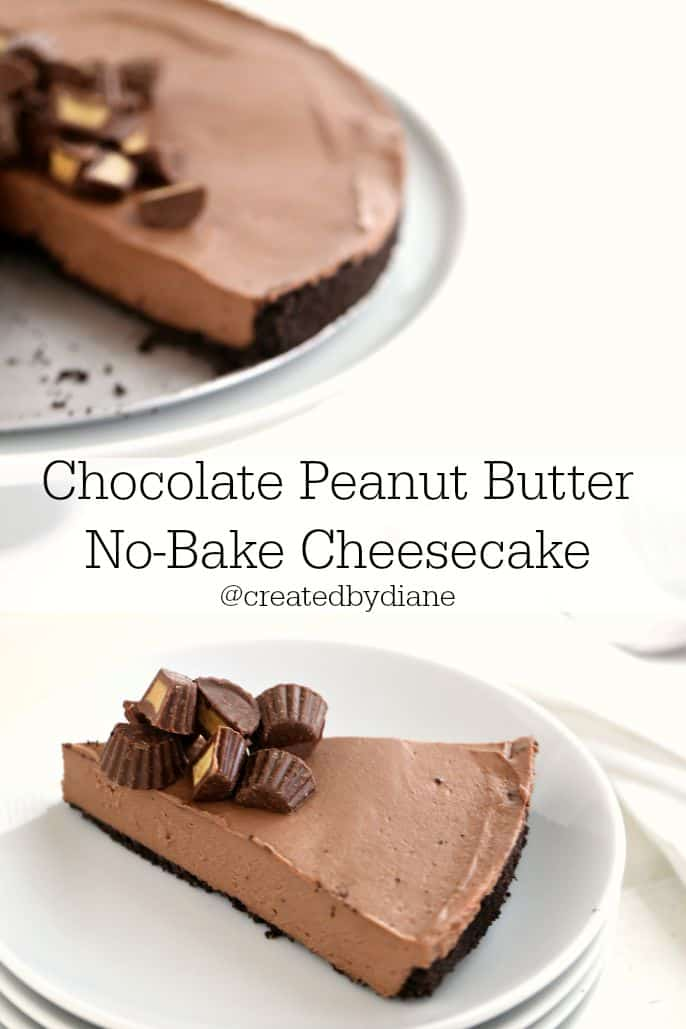 chocolate peanut butter no bake cheesecake recipe from @createdbydiane