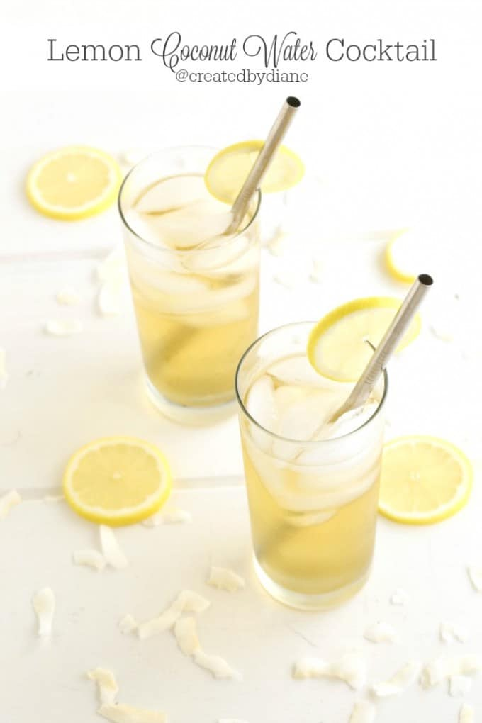 Lemon Coconut Water Cocktail with Tuaca Liquor @createdbydiane