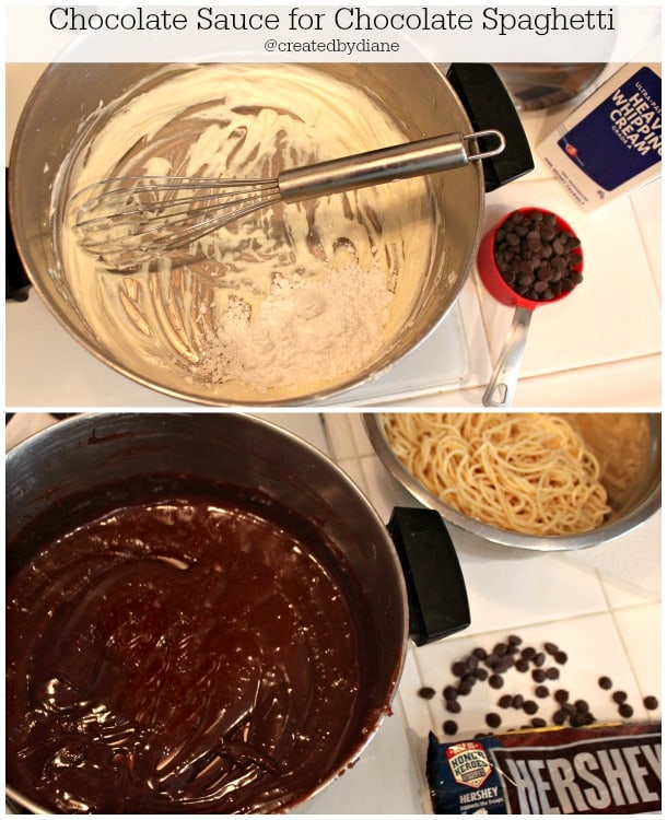 how to make chocolate sauce for chocolate spaghetti @createdbydiane