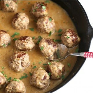 Spicy Beefy Meatballs with Onion Gravy