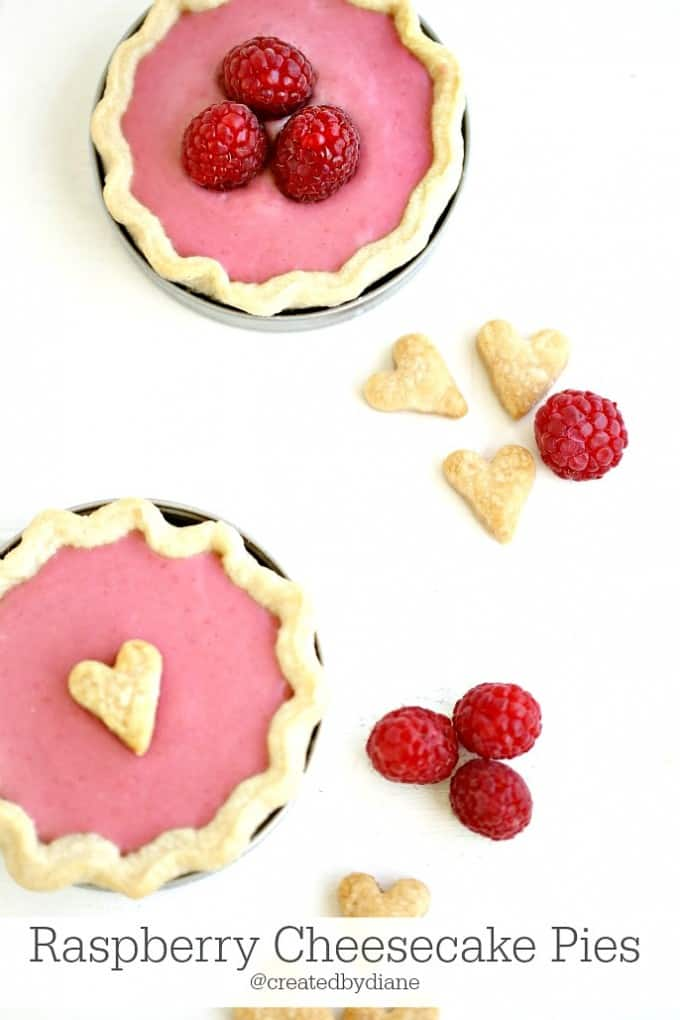 EASY Raspberry Cheesecake Pies in Mini Pie Crusts baked in Mason Jar Lids @createdbyiane
