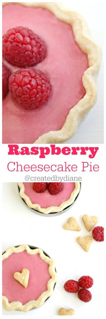 Raspberry Cheesecake Pies in mason jar lids @createdbydiane