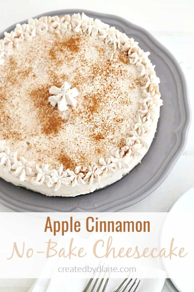 apple cinnamon no bake cheesecake recipe createdbydiane.com