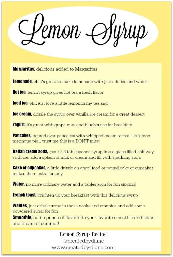 lemon syrup chart @createdbydiane