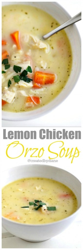 EASY Lemon Chicken Orzo Soup @createdbydiane