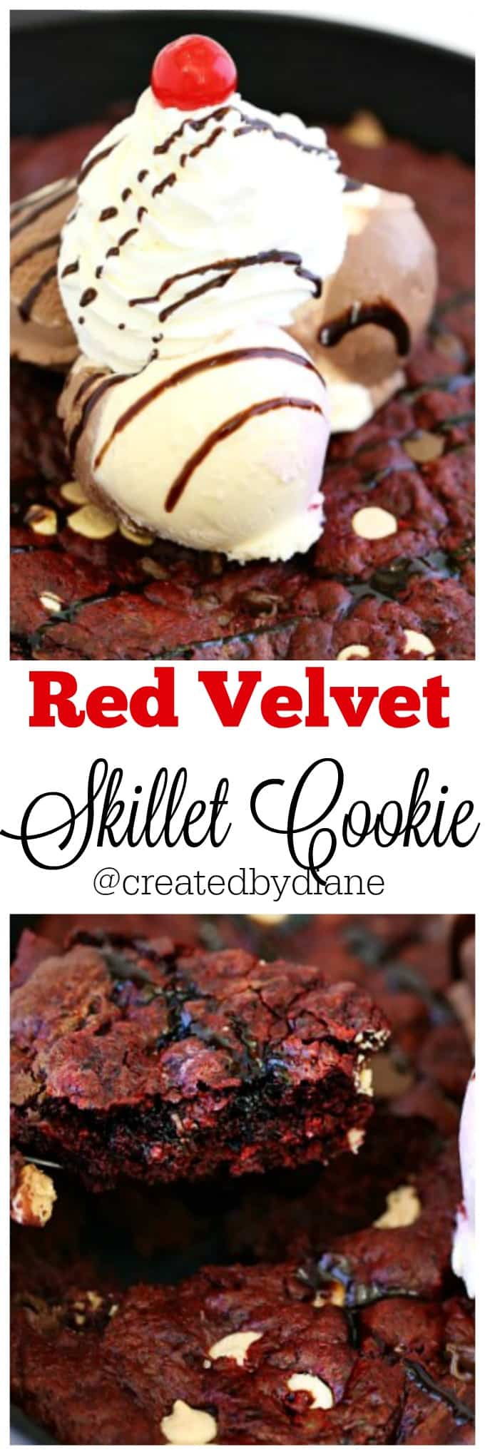 Red Velvet Skillet Cookie @createdbydiane