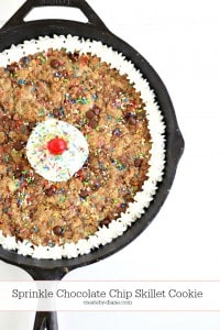 Sprinkle Chocolate Chip Skillet Cookie @createdbydiane