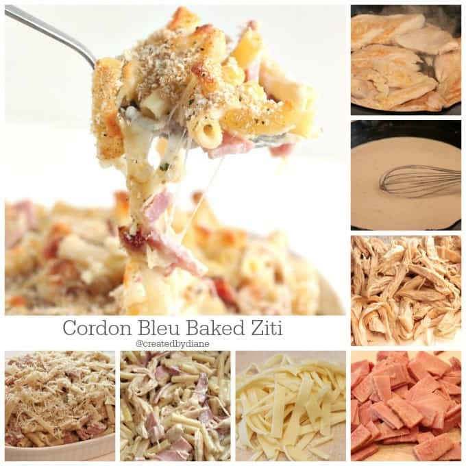 how to make chicken cordon bleu baked ziti @createdbydiane