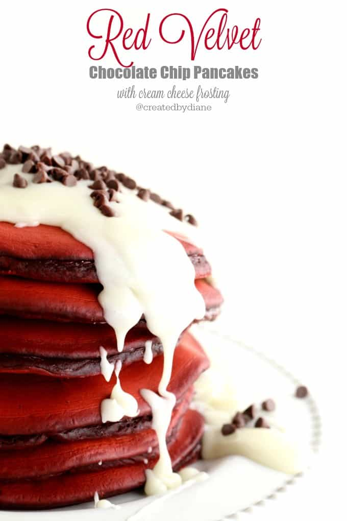 Red Velvet Chocolate chip Pancakes with cream cheese frosting @createdbydiane