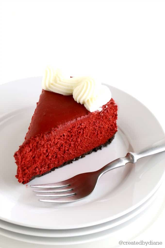 slice of red velvet no bake cheesecake @createdbydiane