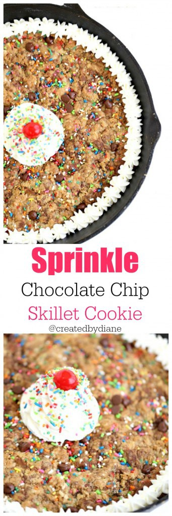 fun sprinkle chocolate chip skillet cookie @createdbydiane