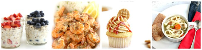 popular overnight oats, garlic shrimp, pbj cupcakes, one pot chicken soup