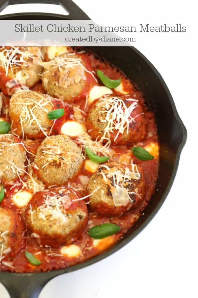 skillet chicken parmesan meatballs createdby-diane.com