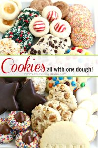 cookies all with ONE dough, a tray full of beautiful cookies make easy and in different flavors