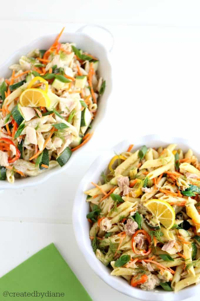 Hot and Cold Pasta with Tuna Vegetables in a Lemon Dill Sauce @createdbydiane