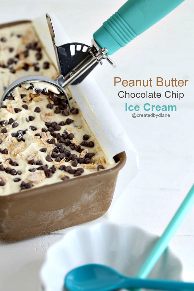 EASY no churn peanut butter ice cream with pieces of pieces of sweetened peanut butter and chocolate chips @createdbydiane