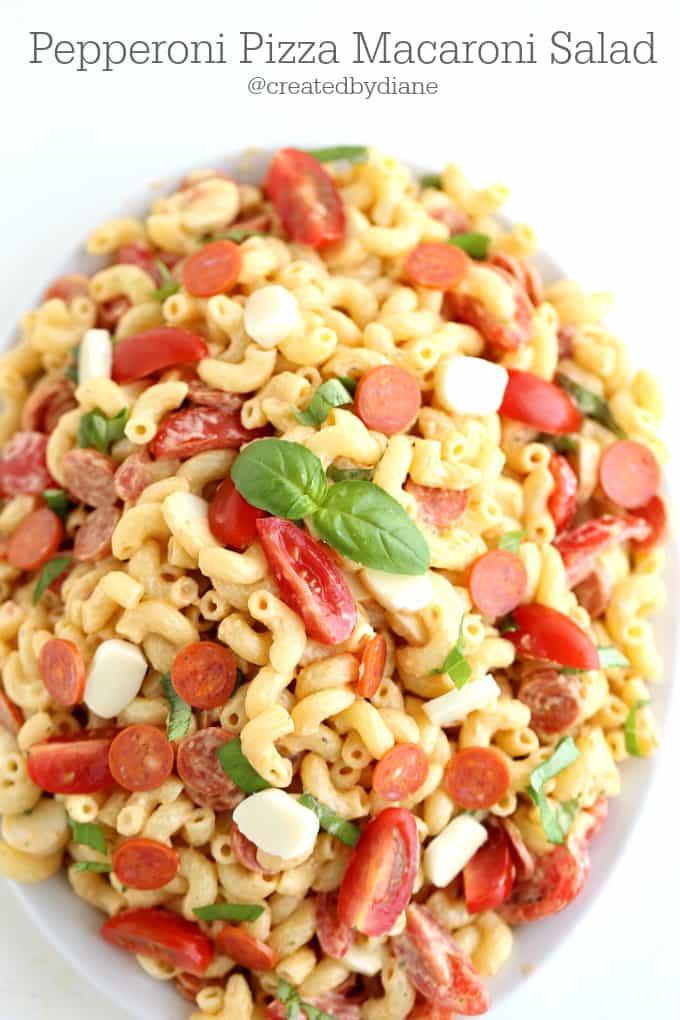 Pepperoni Pizza Macaroni Salad @createdbydiane