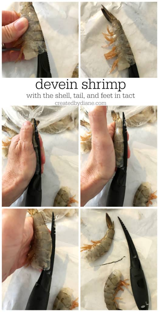 devein shrimp with the shell, tail, and feet in tact createdbydiane.com