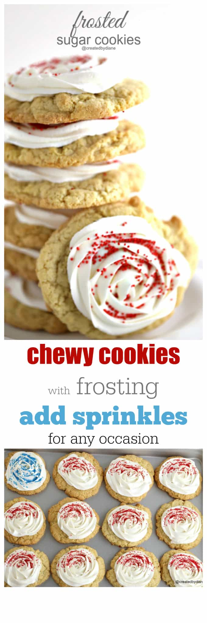 frosted sugar cookies that are chewy and delicious and easy to bake up for any occasion @createdbydiane