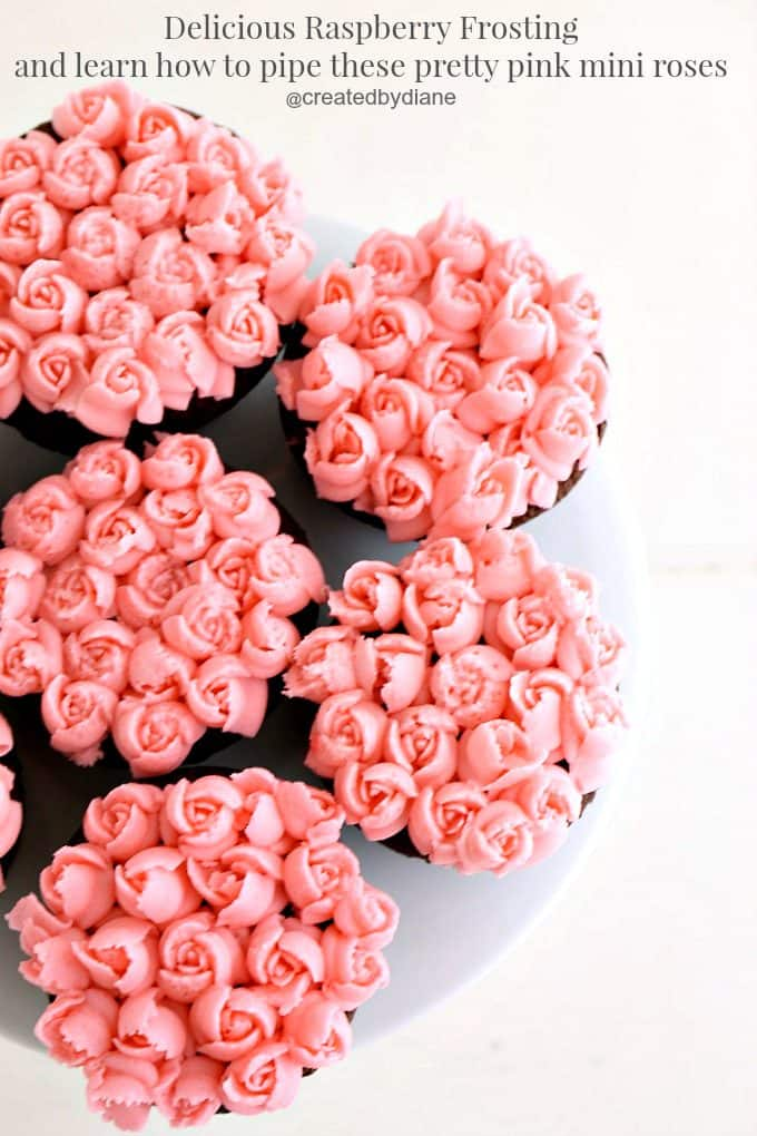 learn how to pip these pretty pink mini roses onto cookies, cupcakes, cakes @createdbydiane
