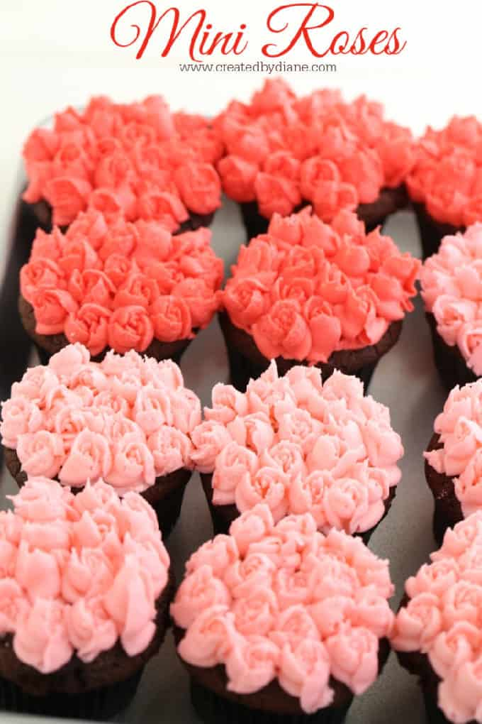 mini roses piped on cupcakes