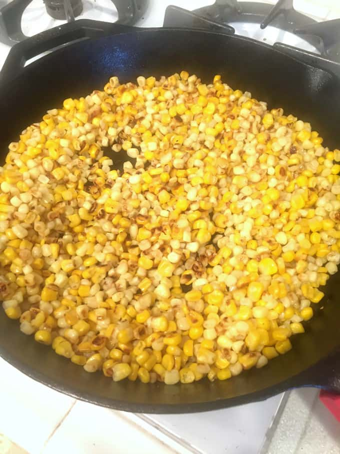 roasting corn in a cast iron skillet @createdbydiane