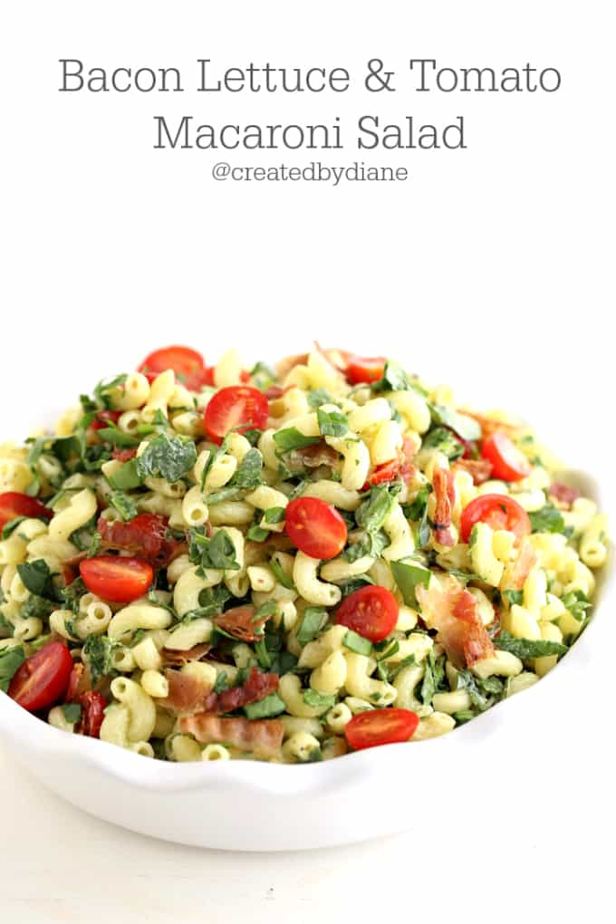 bacon lettuce and tomato macaroni salad @createdbydiane