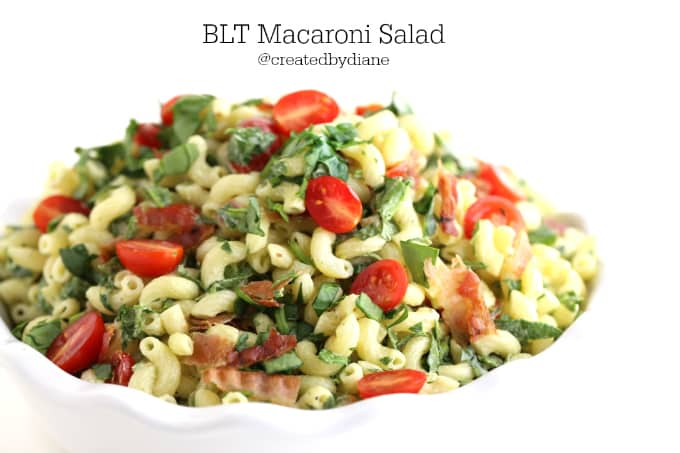 blt macaroni salad recipe from food blogger @createdbydiane