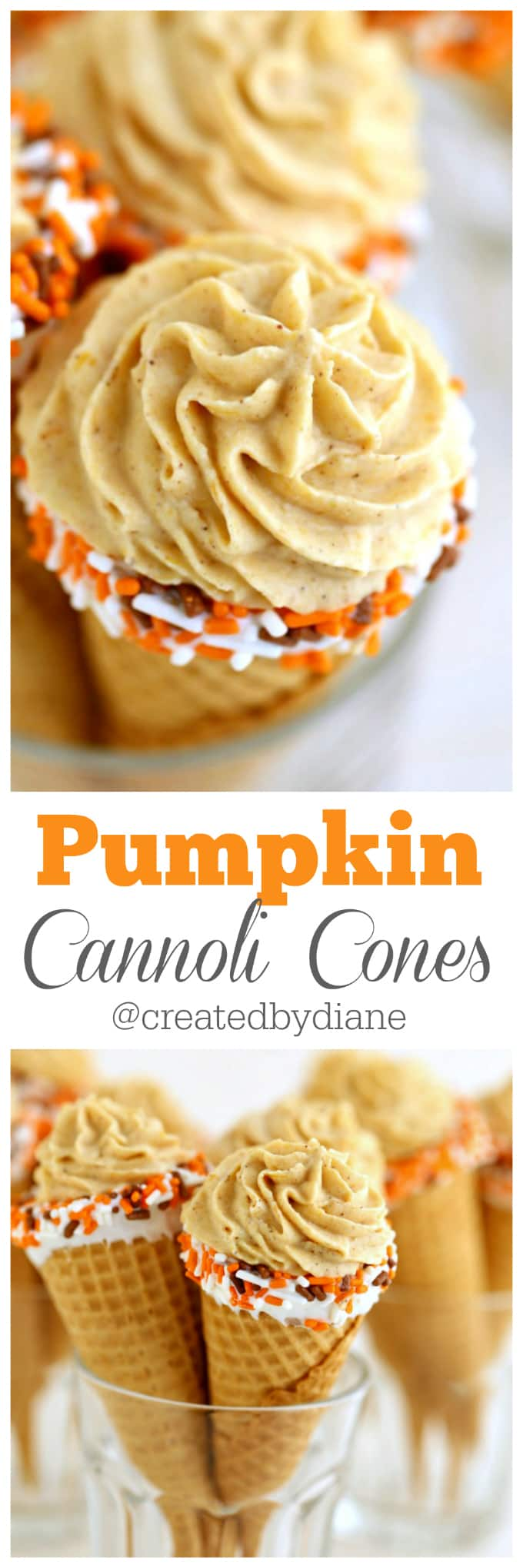 pumpkin cannoli cones recipe from @createdbydiane