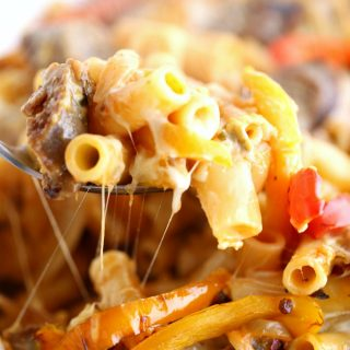 Sausage Pepper and Onion Baked Ziti