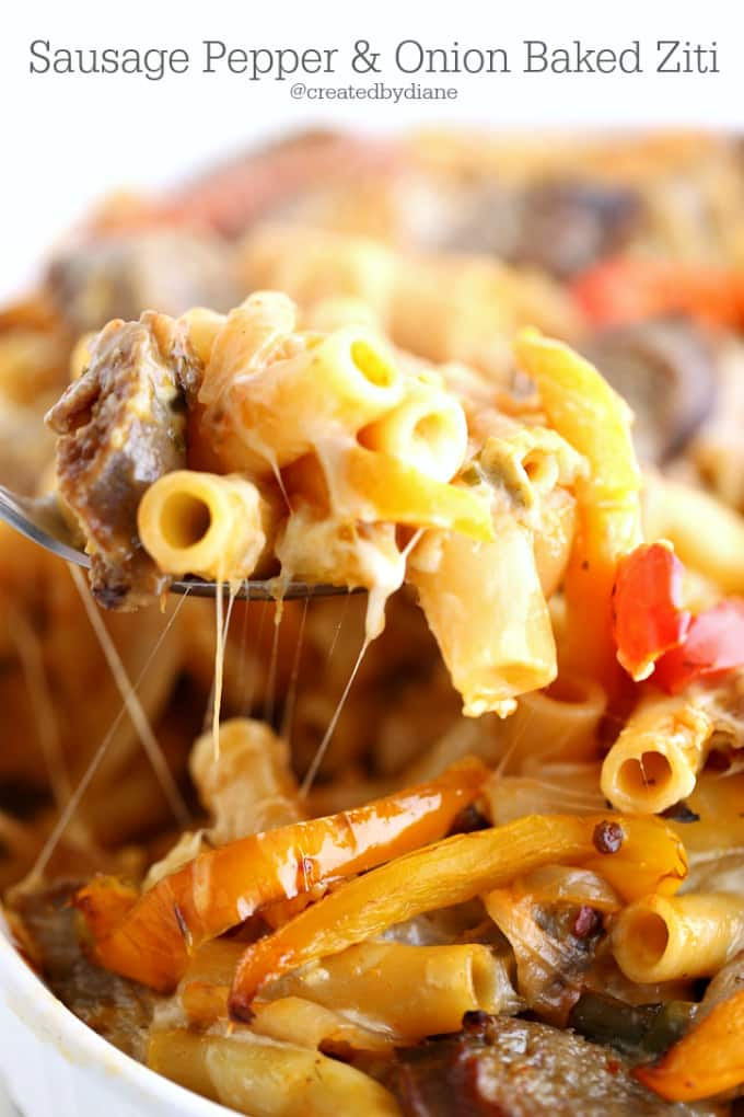 sausage-pepper-and-onion-baked-ziti-createdbydiane