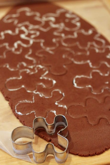 chocolate sugar cookie dough with cookie cutter